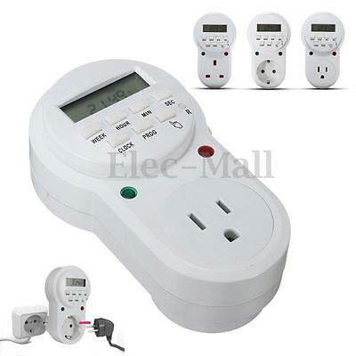7 Day Digital Programmable Timer LCD Plug-in Socket Switch 12/24 Hour US/EU/UK
