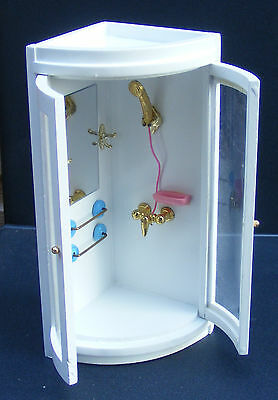 1:12 Scale Wooden Corner Shower Unit Dolls House Miniature Accessory 117
