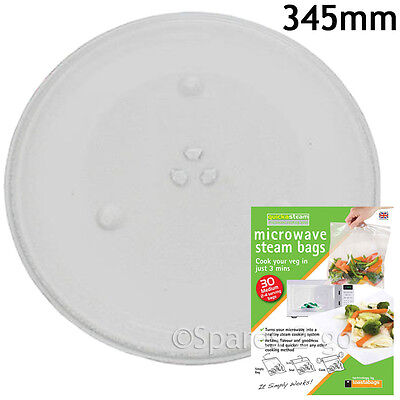 Large Microwave Glass TURNTABLE PLATE 345mm 34cm 3 Lug Dish + Quick Steam Bags