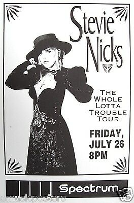 """STEVIE NICKS 1991 """"WHOLE LOTTA TROUBLE TOUR"""" PHILLY CONCERT POSTER-Fleetwood Mac"""