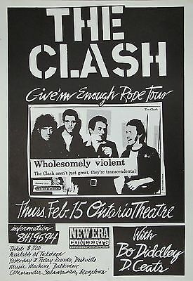 "The Clash/bo Diddley ""give'm Enough Rope Tour"" 1979 Washington Dc Concert Poster"