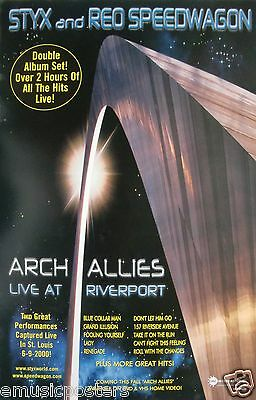 "STYX & REO SPEEDWAGON ""ARCH ALLIES LIVE AT RIVERPORT"" U.S. PROMO  POSTER - Rock"