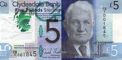 Rare Limited Issue 2015 Clydesdale £5 Polymer Note-Low Prefix Number-Boxed Unc