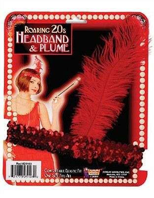 New Red Sequin Flapper Costume Headband with Feather
