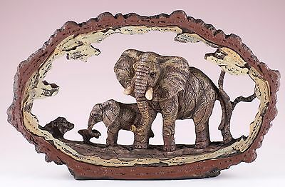 Elephant Carved Wood Look Bark Frame Figurine Resin 7.75 Inch Long New In Box
