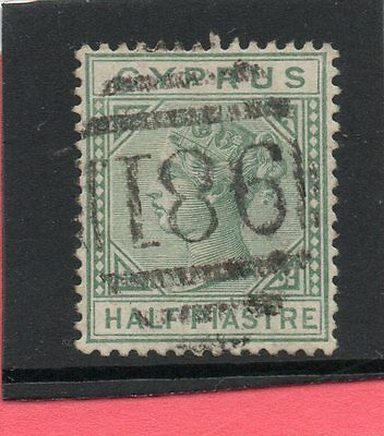 CYPRUS Vic. 1881 1/2pi emerald-green sg 11 Used