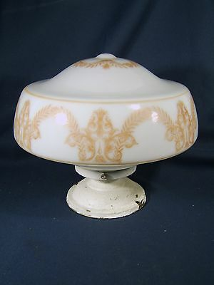 Vtg Large Decorated Opaline Shade & Brass Fixture Porcelain Socket Free Shipping