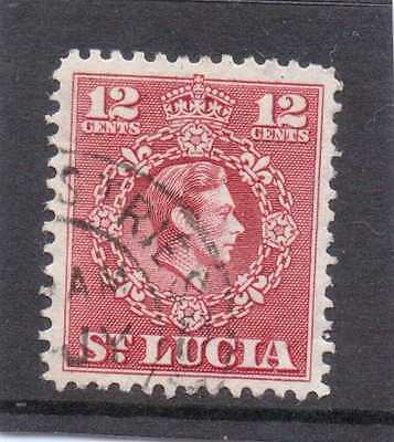 St.LUCIA GV1 1949-50 new currency 12c  sg 153 USED