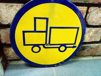 Circular Vintage Bulgarian Lorry Factory Sign
