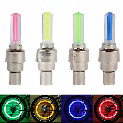 Bike Car Motorbike Neon LED Tire Tyre Wheel Spoke Valve Flash Light Dust Cap New