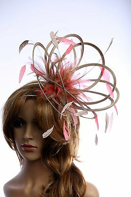 Taupe Nude & Coral Pink Fascinator hat choose any colour feathers/satin Medium