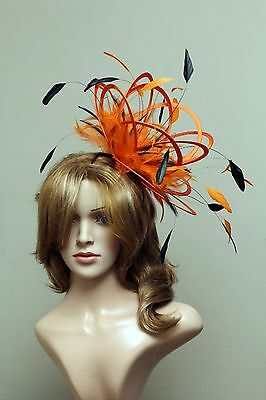 Orange Brown Fascinate Fascinator hat highlight/choose any colour satin/feathers