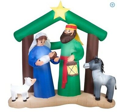 Gemmy Airblown Inflatables Christmas Inflatable 7' Holy Family Nativity Scene n