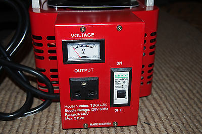 3 KVA Variac variable autotransformer 120 volts input 0-140 volts output