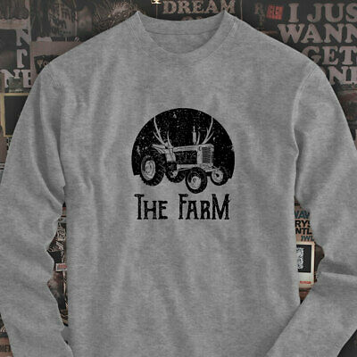 FARMER TRACTOR FARMING AGRICULTURE NATURE CROPS Mens Gray Long Sleeve T-Shirt
