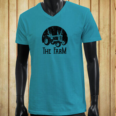 FARMER TRACTOR FARMING AGRICULTURE NATURE CROPS Mens Turquoise V-Neck T-Shirt