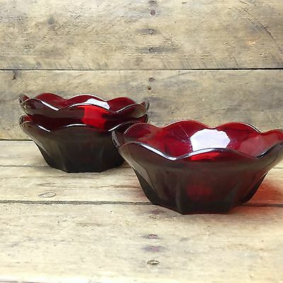 Anchor Hocking Set of 3 Royal Ruby Red Berry Bowls 4.5""