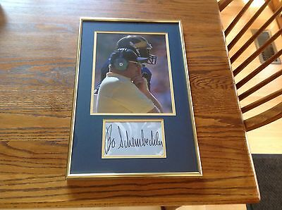 Bo Schembechler Michigan Football Legend Signed Cut & Photo Matted and Framed
