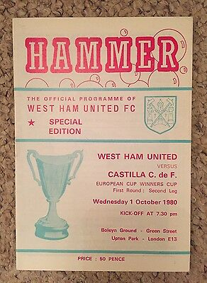 WEST HAM v CASTILLA -  European Cup Winners Cup 1/10/1980