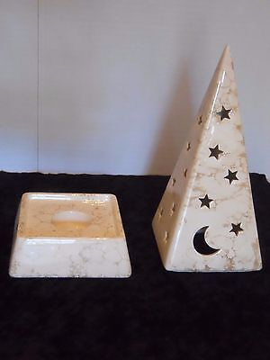 PartyLite Tealight Pyramid Holder Ceramic Celestial Crescent Moon Stars Galaxy