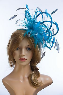 Turquoise & Navy Blue Fascinator Hat/Choose any satin/highlight feather colour