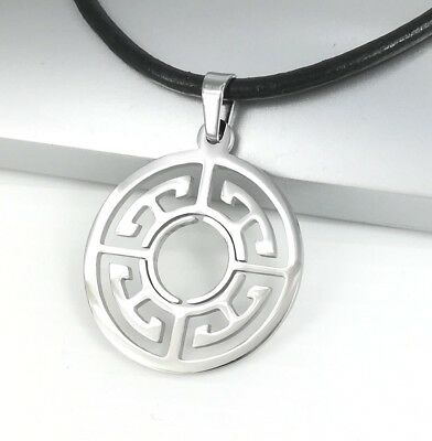 Silver Chrome Round Circle Of Life Symbol Pendant Black Leather Ethnic Necklace