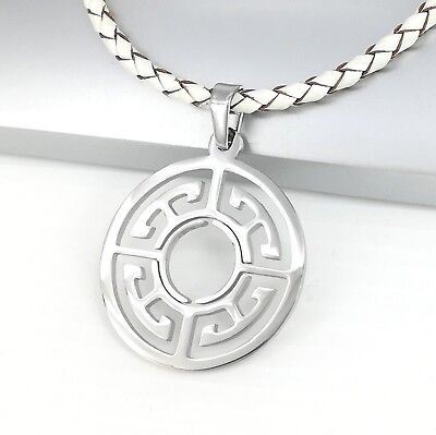 Silver Chrome Round Circle Of Life Symbol Pendant Braided White Leather Necklace