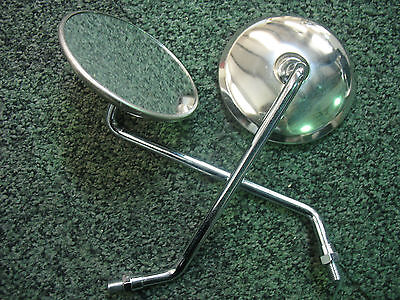 EARLY HONDA 10 mm R/H THREAD LEFT & RIGHT HAND ROUND CHROME MIRRORS - PAIR - NEW