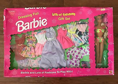 1993 Mattel Dressing Fun Barbie Lots Of Fashions Gift Set Nib #9519 Retired