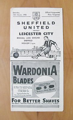 SHEFFIELD UNITED v LEICESTER CITY 1949/1950 *VG Condition Football Programme*