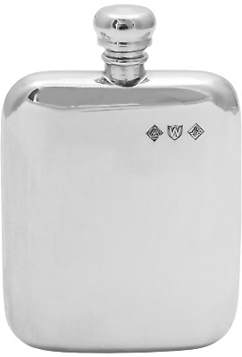 6oz ENGLISH PEWTER HIP FLASK POLISHED HANDMADE by PINDER BROS SHEFFIELD ** NEW *