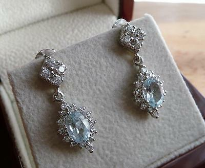 Blue Topaz And Cubic Zirconia 925 Sterling Silver Drop Dangle Earrings