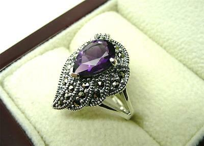 Stunning Purple Amethyst & Marcasite 925 Sterling Silver Ring Size P Us 8