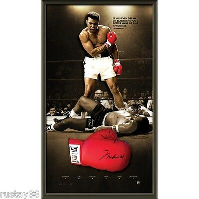 Muhammad Ali Personally Hand Signed Framed Everlast Glove Liston Tyson Frazier