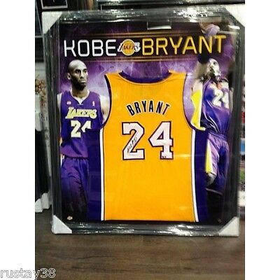 Kobe Bryant Hand Signed Framed La Lakers Limited Backdrop Nba Jersey