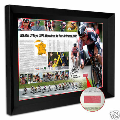 Cadel Evans Signed Framed  Tour De France Limited Edition Print With Race Jersey
