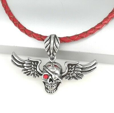 Silver Chrome Round Tree Of Life Symbol Pendant 3mm Braided Red Leather Necklace