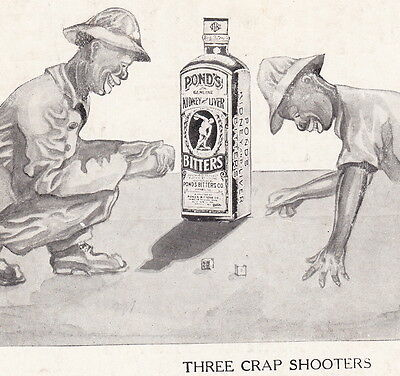 Antique Afro-American Black Gambling Ponds Bitters Brandy Cure Advertising Card