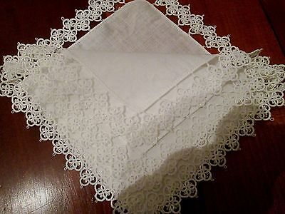 Vintage White hand tatted lace linen wedding hanky, handkerchief