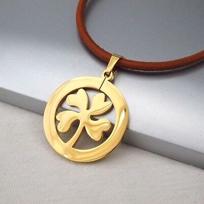 Gold Four Leaf Clover Celtic Lucky Charms Pendant Brown Leather Floral Necklace
