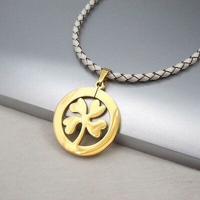Gold Clover Celtic Lucky Charms Pendant Braided White Leather Floral Necklace