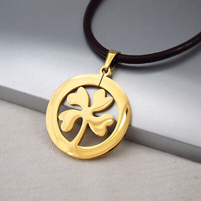 Gold Irish Clover Celtic Lucky Charms Pendant Dark Brown Leather Floral Necklace