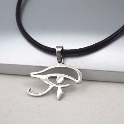 Silver Chrome Egyptian Eye Symbol Pendant Dark Brown Leather Ethnic Necklace NEW