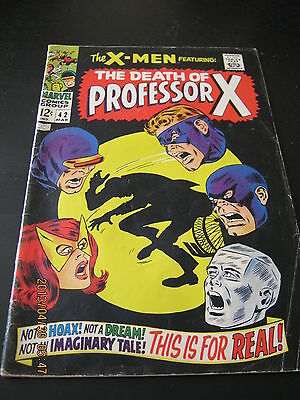 Uncanny X-Men # 42 March 1968 Stan Lee Roy Thomas John Buscema Death Professor X