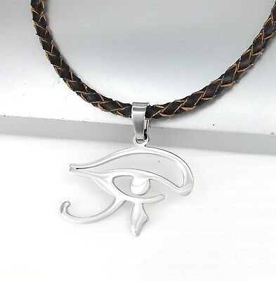 Silver Chrome Egyptian Eye Symbol Pendant Braided Brown Leather Ethnic Necklace