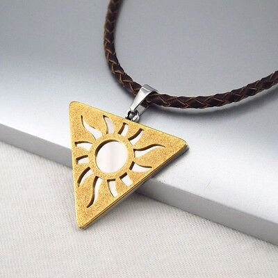 Silver Chrome Gold Egyptian Sun Symbol Pendant Braided Brown Leather Necklace