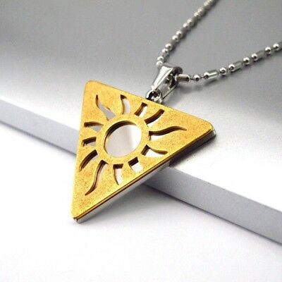 "Silver Chrome Gold Egyptian Sun Symbol Pendant Ethnic Tribal Necklace 24"" Chain"