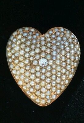 Antique Art Nouveau 10K Gold Diamond Seed Pearl Heart Pendant Pin Estate Jewelry