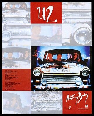 1992 U2 photo Achtung Baby album release vintage print ad