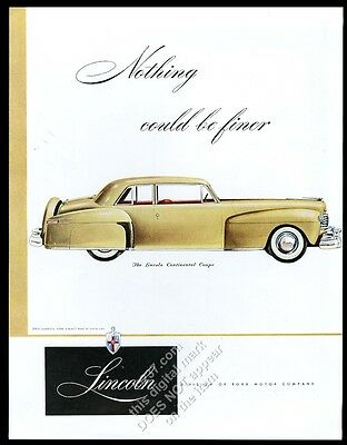 1948 Lincoln Continental Coupe gold car vintage print ad